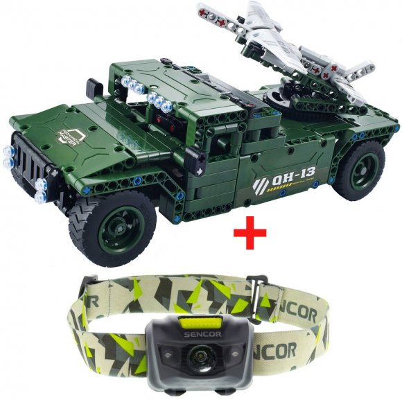Buddy Toys BCS 2003 RC Military auto + Čelovka SLL 55 Sencor